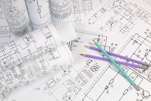 Electrical engineering drawings close up.
