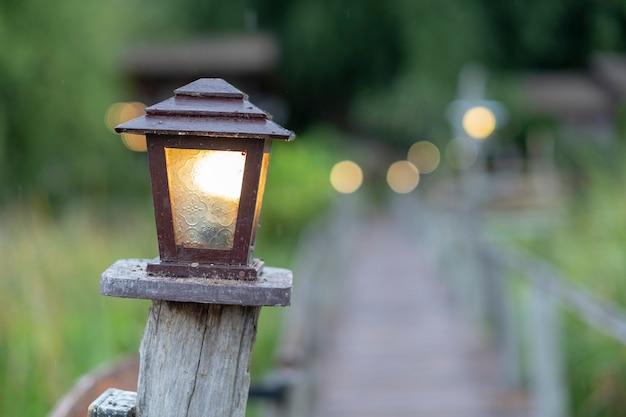 自然の散歩道で電気ランプ