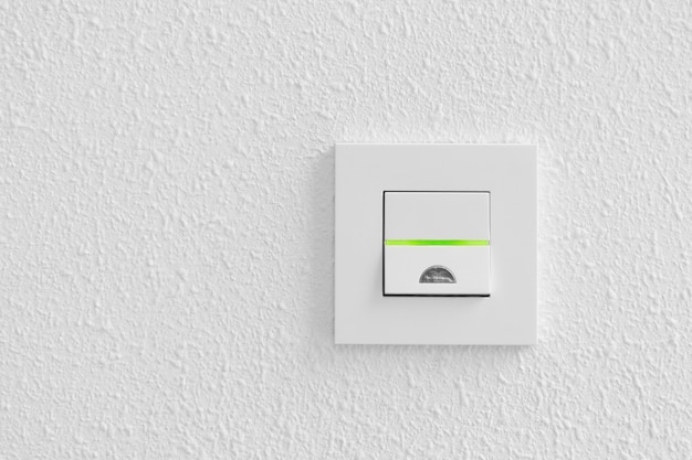 Electrical light switch on white