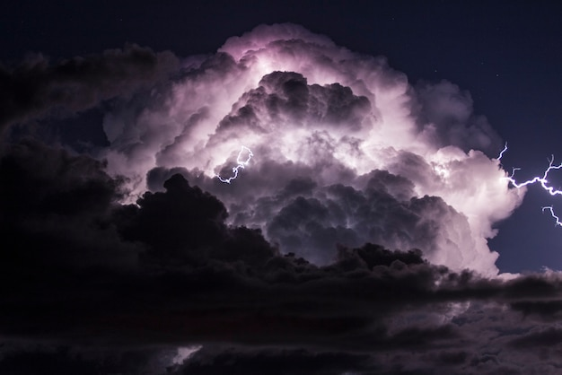 Electrical storm over the mediterranean sea
