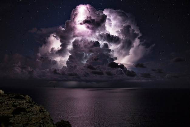 Electrical storm over the sea