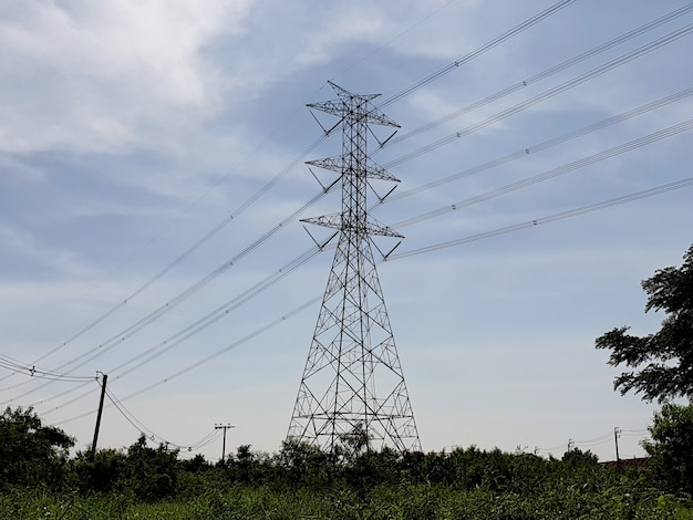 Electrical transmission line highvoltage tower in the grass field