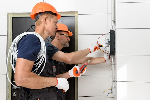 Electrical work indoors.