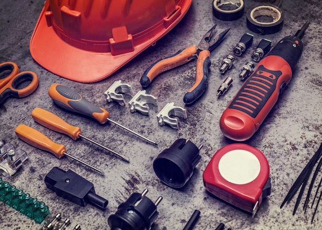 Electrician tools background