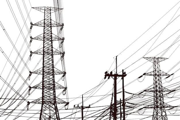 夜明けの青空の雲に対する電柱、田舎への送電線、明るい空の雲の背景にある高圧電柱、送電パイロン
