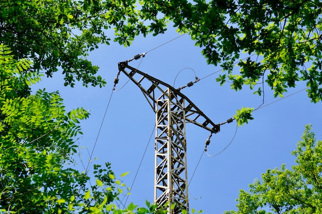 Electricity tower in the mountain in the nature
