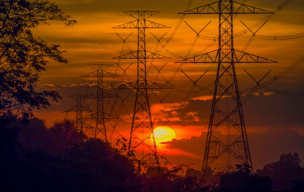 Electrodes, power and energy conservation ideas. during sunset