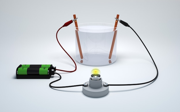 Electrolysis of water with battery and bulb on white