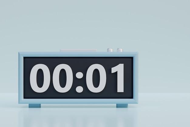 多数の3dレンダリングイラスト付き電子目覚まし時計