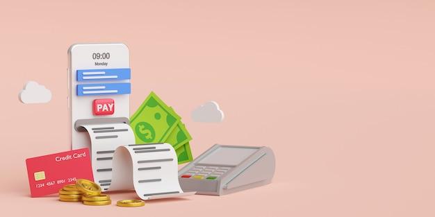 Электронный счет онлайн-оплаты на концепции смартфона