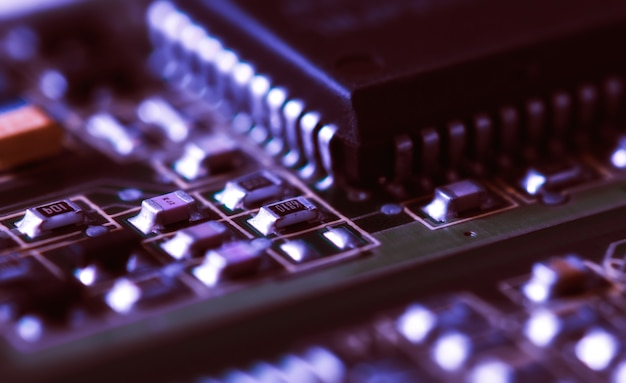 Electronic chips on computer board