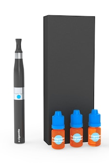 Electronic cigarette with flavor bottles and box on a white background
