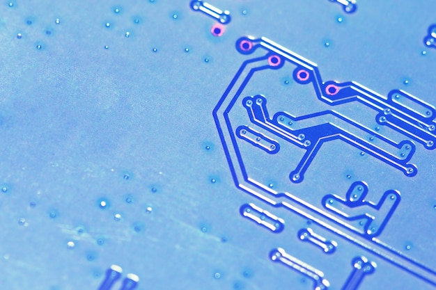 Electronic circuit board close up. business technology concept.
