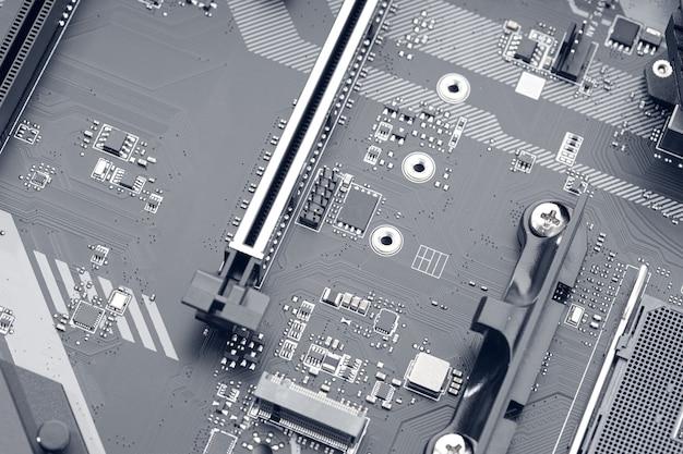 컴퓨터 마더보드의 전자 회로 칩. 추상적인 배경 기술