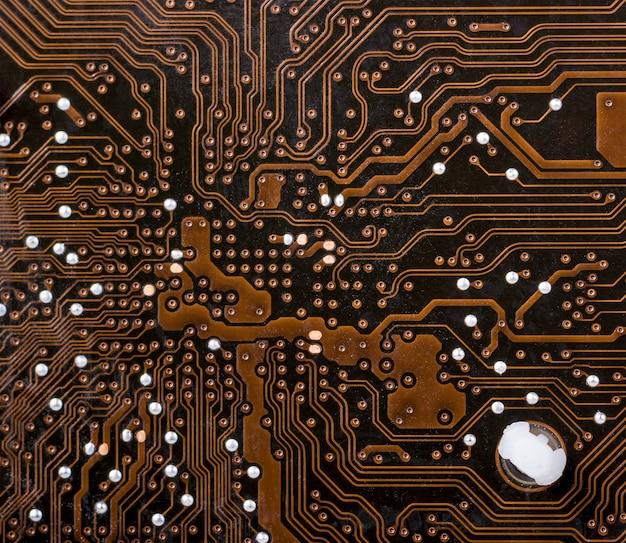 電子コレクション-背面のコンピューターのメインボードのクローズアップショット