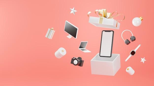 Электронные устройства, вылетающие из витрины подарочной коробки в 3d-рендеринге