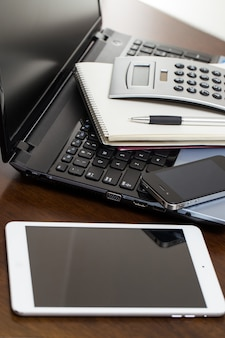 Electronic devices on the table