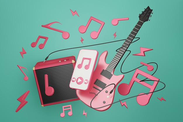 Electronic guitar with amplifier guitar and smartphone playing music