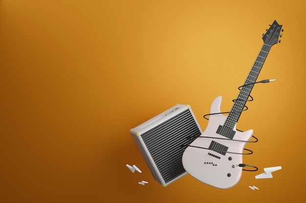 Electronic guitar with amplifier guitar