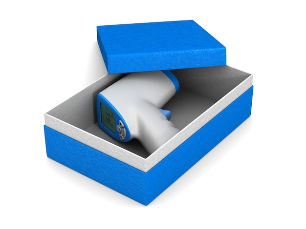 Electronic infrared thermometer into box. isolated 3d rendering