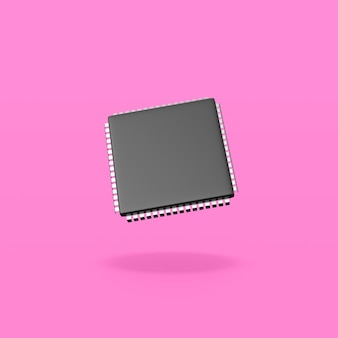 Electronic microchip on purple background