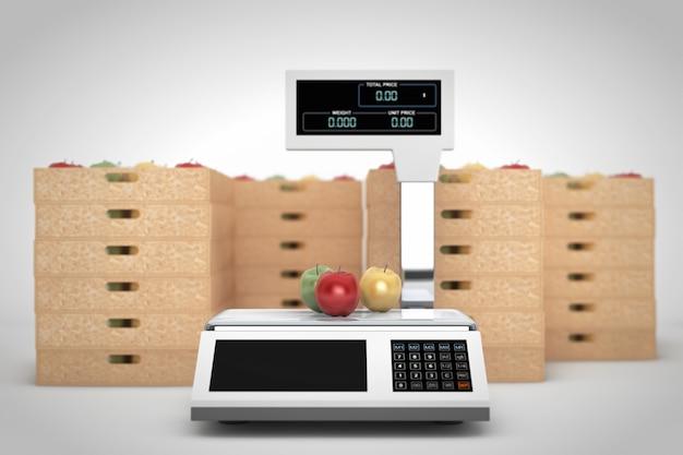 白い背景の上のリンゴの箱で食品を計量するための電子はかり。 3dレンダリング