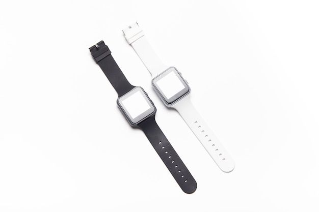 Electronic wrist watch on a white background