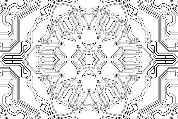 エレクトロニクスチップボード。プリント基板電子ハイテクモデル、デジタル技術。イラスト抽象コンピュータチップ。黒のモノクロマイクロチップ、白い背景で分離