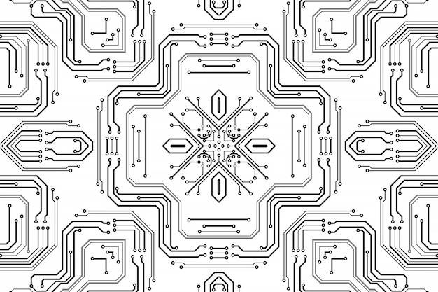 전자 칩 보드. 인쇄 회로 기판 전자 하이테크 모델, 디지털 기술. 그림 추상 컴퓨터 칩입니다. 검은색 단색 마이크로칩, 흰색 배경에 분리