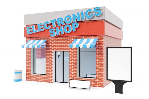 白い背景で隔離のコピースペースボードと電器店。近代的なショップの建物、店舗のファサード。エクステリア市場。外観の正面店の建物、3dレンダリング