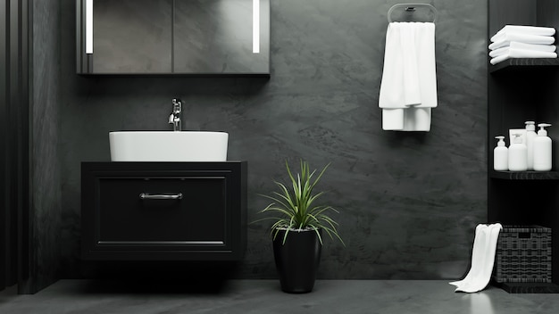 Elegance bathroom in modern loft interior with dark marble floor and l 3d rendering 3d illustration