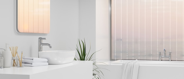 Elegance bathroom with luxury bathtub over large window white cabinet and vessel sink  3d