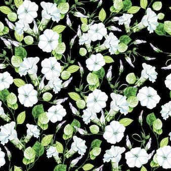 バインドウィードの花を使ったエレガンス水彩結婚式シームレス パターン。