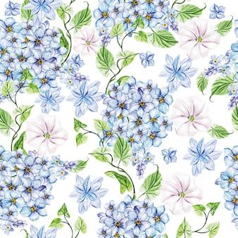 春の青い花とオオバコのエレガンス水彩結婚式シームレス パターン。