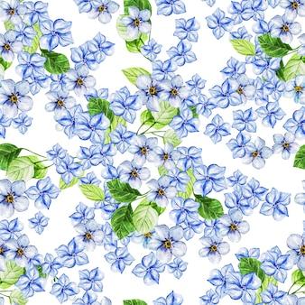春の青い花を持つエレガンス水彩結婚式シームレス パターン。