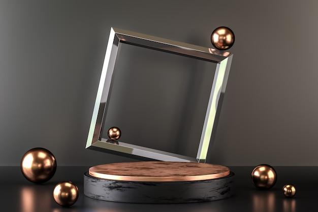 Элегантная и абстрактная пустота. подиум премиум-класса в черном и золотом цветах.