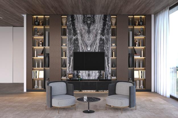 大理石のテレビの壁と本棚のアパートのデザインを備えたエレガントで豪華なモダンなインテリアのリビングルーム