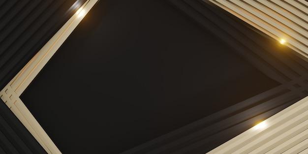 Elegant background black stuff and glittering gold bars 3d illustration