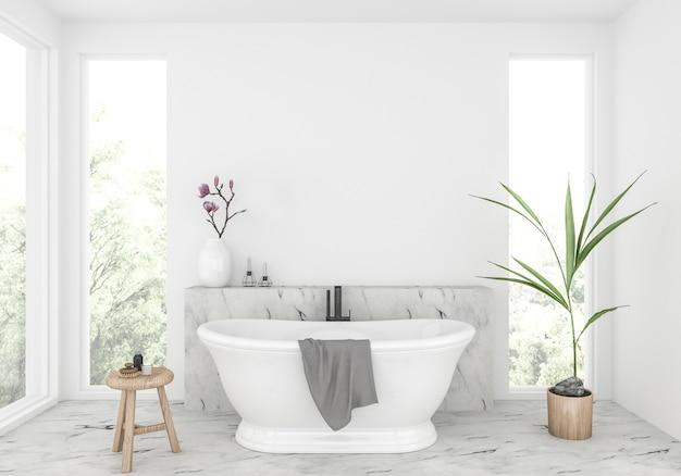空白の壁、アートワークディスプレイ付きのエレガントなバスルーム