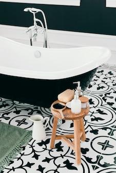 Elegant bathtub with bath elements