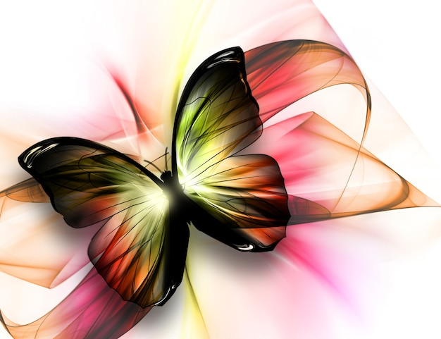 Elegant beautiful butterfly on a light background