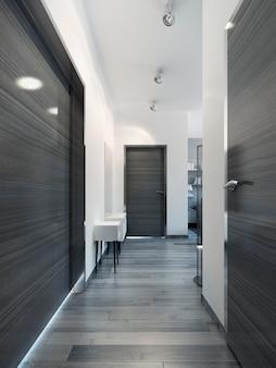 Элегантный черный современный коридор. 3d визуализация