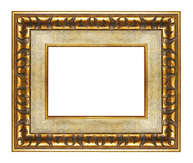 Элегантная пустая рамка с золотыми границами на белом