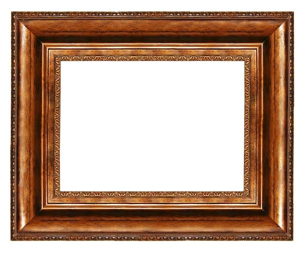 Элегантная пустая рамка с деревянными бордюрами на белом