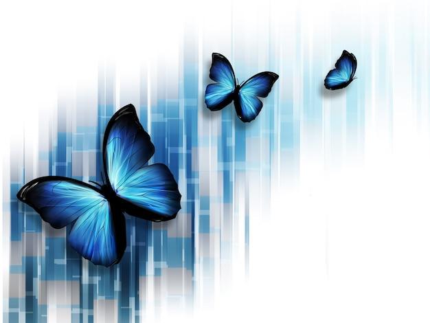 Элегантный синий абстрактный фон с бабочками