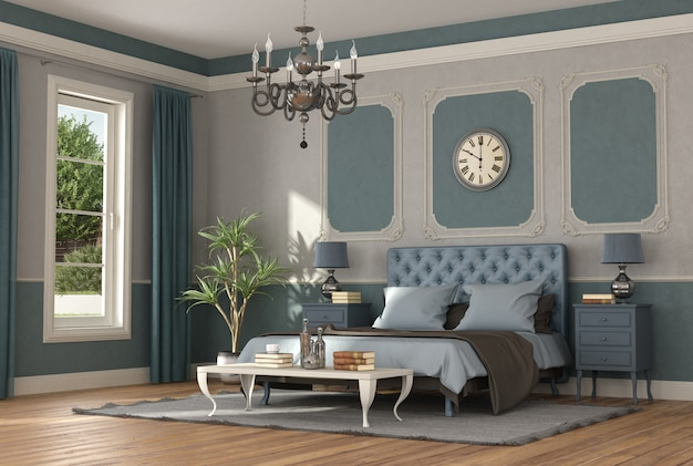 Elegant blue and gray master bedroom