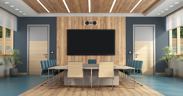 Elegant boardroom with large meeting table