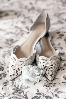 Elegant bridal wedding shoes