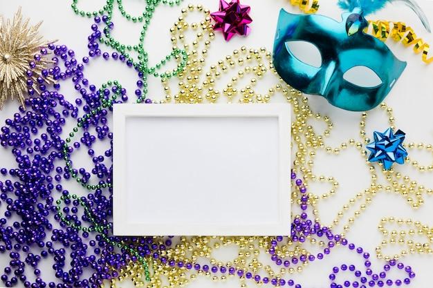 Elegant carnival mask with frame