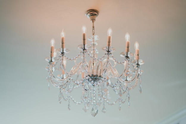 Elegant chandelier hanging from the ceiling